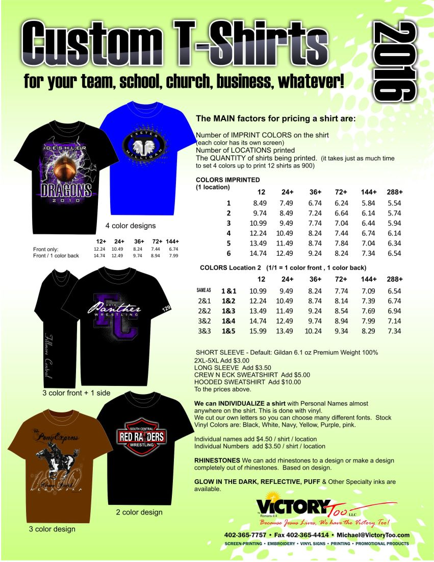 Click here for custom t shirt pricing victory too for Custom t shirt prices